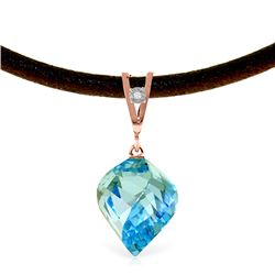Genuine 13.91 ctw Blue Topaz & Diamond Necklace Jewelry 14KT Rose Gold - REF-58M5T