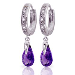 Genuine 2.53 ctw Amethyst & Diamond Earrings Jewelry 14KT White Gold - REF-58K2V