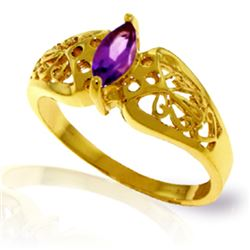 Genuine 0.20 CTW Amethyst Ring Jewelry 14KT Yellow Gold - REF-47W2Y