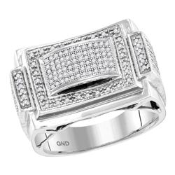 0.50 CTW Mens Diamond Domed Rectangle Cluster Ring 10KT White Gold - REF-59Y9X