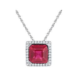1.85 CTW Cushion Created Ruby Solitaire Diamond Pendant 10KT White Gold - REF-13K4W