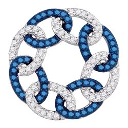 0.33 CTW Blue Color Diamond Circle Linked Pendant 10KT White Gold - REF-18H2M