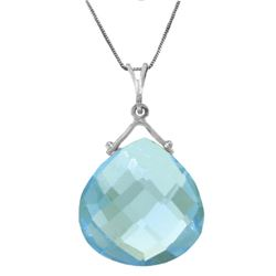 Genuine 8.5 ctw Blue Topaz Necklace Jewelry 14KT White Gold - REF-26Z9N