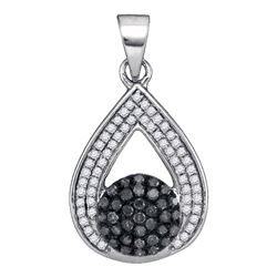 0.33 CTW Black Color Diamond Teardrop Cluster Pendant 10KT White Gold - REF-20F9N
