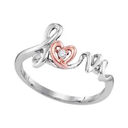 0.02 CTW Diamond Heart Love Ring 10KT Two-tone Gold - REF-9N7F