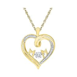 0.08 CTW Diamond Mom Heart Pendant 10KT Yellow Gold - REF-22N4F
