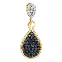 0.25 CTW Black Color Diamond Teardrop Cluster Pendant 10KT Yellow Gold - REF-12X2Y