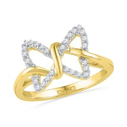 0.15 CTW Diamond Butterfly Bug Daily-wear Right-hand Ring 10KT Yellow Gold - REF-18M2H