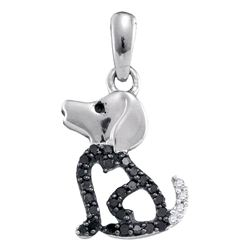 0.13 CTW Black Color Diamond Puppy Doggy Dog Canine Pendant 10KT White Gold - REF-8X9Y