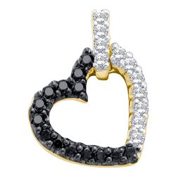 0.31 CTW Black Color Diamond Dangling Heart Pendant 10KT Yellow Gold - REF-13K4W
