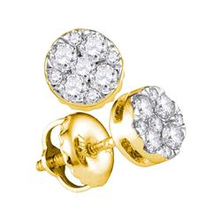0.25 CTW Diamond Cluster Earrings 14KT Yellow Gold - REF-25M4H