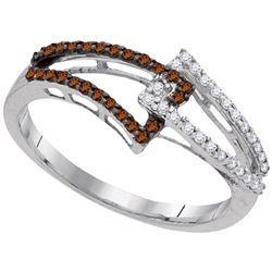 0.25 CTW Cognac-brown Color Diamond Linked Ring 10KT White Gold - REF-19N4F