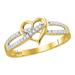 0.15 CTW Diamond Woven Heart Love Ring 10KT Yellow Gold - REF-14K9W