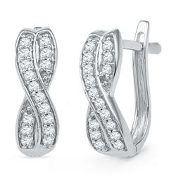 0.20 CTW Diamond Double Row Crossover Hoop Earrings 10KT White Gold - REF-19F4N