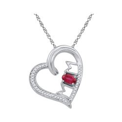 0.61 CTW Created Ruby & Diamond Heart Mom Mother Love Pendant 10KT White Gold - REF-19X4Y