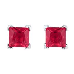 2 CTW Princess Created Ruby Solitaire Earrings 10KT White Gold - REF-13M4H