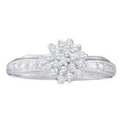 0.10 CTW Diamond Cluster Ring 10KT White Gold - REF-10X5Y
