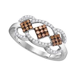 0.33 CTW Brown Color Diamond Cluster Ring 10KT White Gold - REF-22H4M
