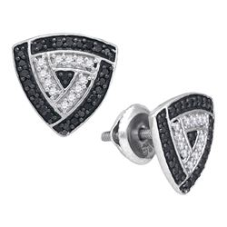0.50 CTW Black Color Diamond Triangle Stud Earrings 10KT White Gold - REF-22W4K