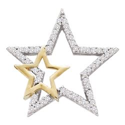 0.15 CTW Diamond Double Star Outline Pendant 10KT Two-tone Gold - REF-14M9H