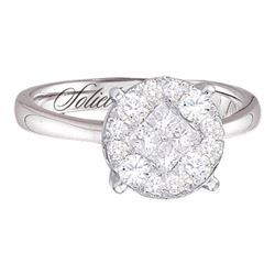 1.01 CTW Diamond Soleil Cluster Bridal Engagement Ring 14KT White Gold - REF-119M9H