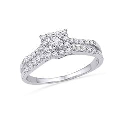 0.50 CTW Diamond Square-shape Halo Bridal Engagement Ring 10KT White Gold - REF-44M9H