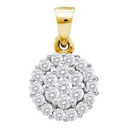 0.50 CTW Diamond Circle Flower Cluster Pendant 14KT Yellow Gold - REF-37F5N