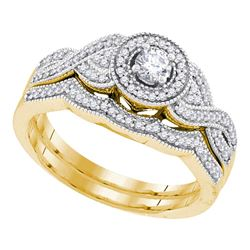 0.38 CTW Diamond Halo Woven Crossover Bridal Engagement Ring 10KT Yellow Gold - REF-57N2F