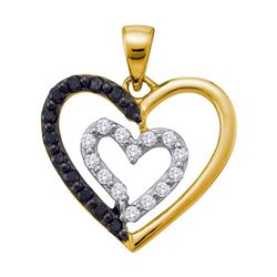 0.54 CTW Black Color Diamond Heart Love Pendant 14KT Yellow Gold - REF-34F4N