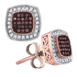 0.25 CTW Red Color Diamond Square Cluster Earrings 10KT Rose Gold - REF-30F2N