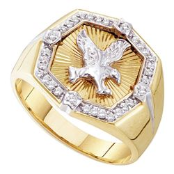 0.25 CTW Mens Diamond Eagle Cluster Ring 10KT Yellow Gold - REF-26Y3X