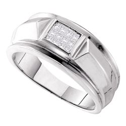 0.25 CTW Mens Princess Diamond Cluster Ring 14KT White Gold - REF-71M9H
