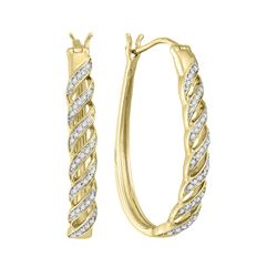 0.20 CTW Diamond Oblong Hoop Earrings 10KT Yellow Gold - REF-30H2M