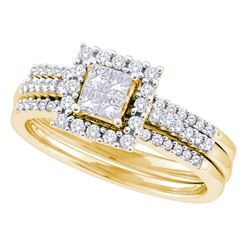 0.50 CTW Princess Diamond 3-Piece Halo Bridal Engagement Ring 14KT Yellow Gold - REF-79M4H
