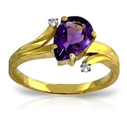 Genuine 1.51 ctw Amethyst & Diamond Ring Jewelry 14KT Yellow Gold - REF-51V4W