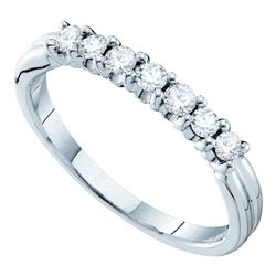 0.33 CTW Pave-set Diamond Single Row Wedding Ring 14KT White Gold - REF-33N8F