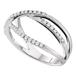 0.20 CTW Diamond Triple Strand Openwork Ring 14KT White Gold - REF-34K4W