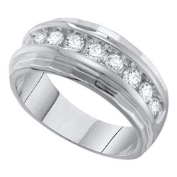 1 CTW Mens Diamond Ridged Edges Single Row Wedding Ring 10KT White Gold - REF-104W9K