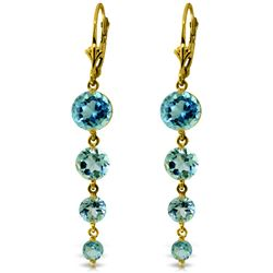 Genuine 7.8 ctw Blue Topaz Earrings Jewelry 14KT Yellow Gold - REF-46W3Y