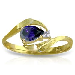 Genuine 0.51 ctw Sapphire & Diamond Ring Jewelry 14KT Yellow Gold - REF-28K3V
