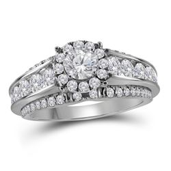 1.98 CTW Diamond Bridal Wedding Engagement Ring 14KT White Gold - REF-299Y9X