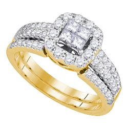 1 CTW Princess Diamond Bridal Engagement Ring 14KT Yellow Gold - REF-119F9N