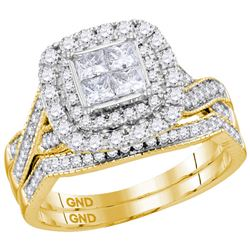 1.01 CTW Princess Diamond Cluster Halo Bridal Engagement Ring 14KT Yellow Gold - REF-123K8W