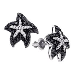0.40 CTW Black Color Diamond Starfish Stud Earrings 10KT White Gold - REF-24Y2X
