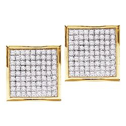 0.05 CTW Diamond Square Cluster Stud Earrings 10KT Yellow Gold - REF-4M5H
