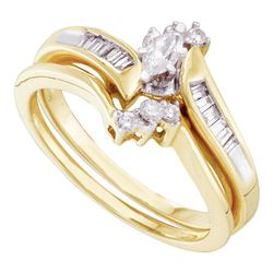 0.25 CTW Marquise Diamond Bridal Engagement Ring 10KT Yellow Gold - REF-41Y9X
