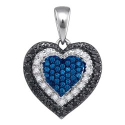 0.27 CTW Blue Color Diamond Layered Heart Pendant 10KT White Gold - REF-22N4F
