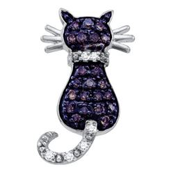 0.33 CTW Cognac-brown Color Diamond Kitty Cat Pendant 10KT White Gold - REF-13X4Y