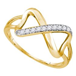0.10 CTW Diamond Infinity Ring 10KT Yellow Gold - REF-12M2H