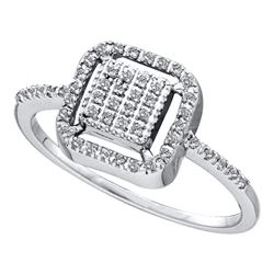 0.15 CTW Diamond Square Cluster Slender Ring 14KT White Gold - REF-19W4K